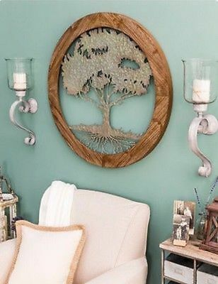 Rustic Carved Round Wood & Distressed Metal Shabby Chic Tree of Life Wall Decor