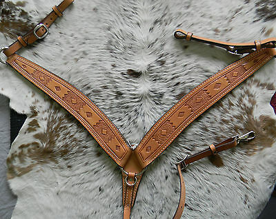 Leather Hand Tooled Unique Design Western Roper Style Breast Collar U.S. Made