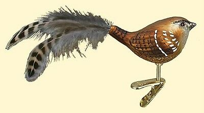 Wren Clip On Bird W/ Feather Tail Old World Christmas Blown Glass Ornament 18082