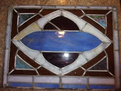 "ANTIQUE STAINED GLASS WINDOW CHURCH  23"" long x 17"" VINtAGE #2 - LOTNAT"