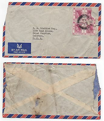 1957 HONG KONG QEII Air Mail Cover To GRAND JUNCTION COLORADO USA Lindblom