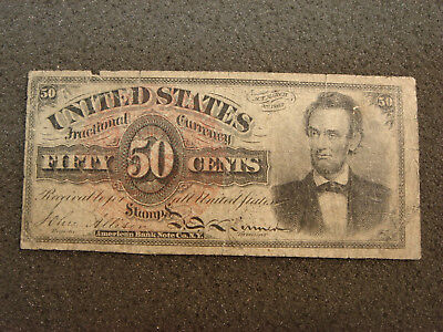 1869 Fourth Issue 50 Fifty Cent Lincoln Fractional Currency Well Circulated