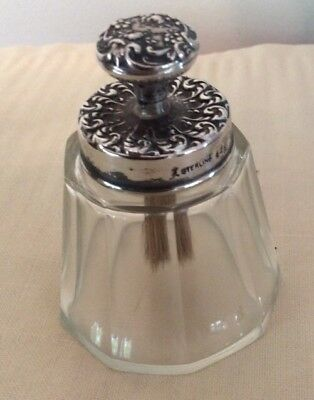 Victorian Cut Glass / Sterling Glue Paste Pot Jar