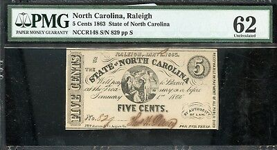 1863 PMG 62 Uncirculated North Carolina 5C Fractional Currency Note BR 61