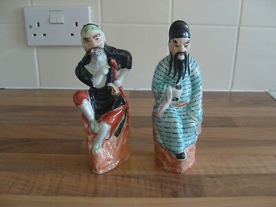 Two Old Vintage Chinese Hand Painted Figurines