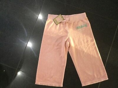 NWT Juicy Couture New & Gen. Girls Age 8 Pink Cotton Crop Leg Pants With Logo