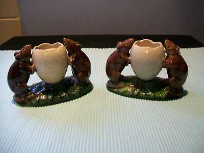 Two Very Rare Watcombe Torquay Pottery Mice Posy Vases A/f see all photos