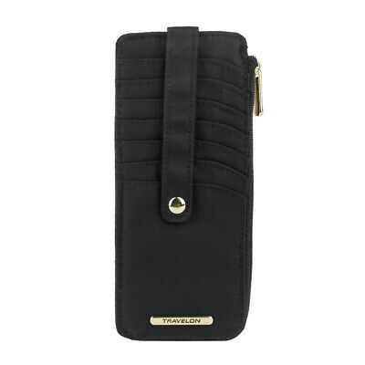 Travelon RFID Anti-Theft Tailored Slim Zip Wallet, Onyx