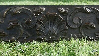 SUPERB 19thc MAHOGANY PANEL WITH RELIEF CARVED SHELL & ACANTHUS LEAF DECOR