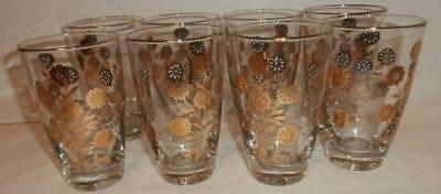 Vintage Barware Gold Flower Trimmed 8 Tumbler Glasses 12 Oz Man Cave Bar
