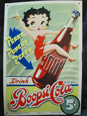 """BETTY BOOP * """"BOOPSI COLA"""" * TIN SIGN * ARTIST SIGNED * 13"""" x 9.5"""" * WALL DECOR"""
