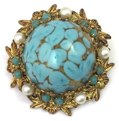 Vintage Antique Brooch Turquoise Art Glass Cabochon Ornate Metal Frame Jewelry