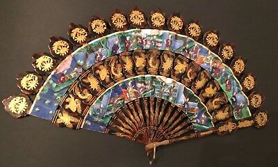Fine Antique Chinese Gold Lacquer Figural Court Scene 100 Faces Cabriolet Fan