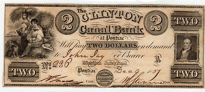 1837 US Obsolete Currency $2 Clinton Canal Bank, Pontiac MI - Haxby 325-G4*