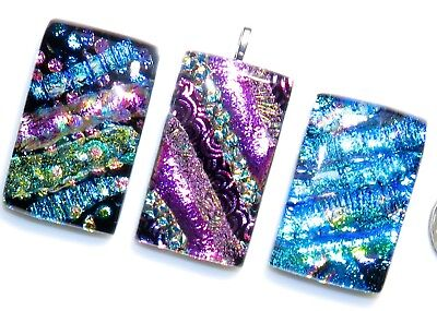 3 Dichroic fused Glass Rectangle pendant MOSAIC wholesale cab necklace designer