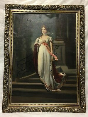 "Antique Oil Painting in Frame - Woman Walking Down Steps - circa 1900 -20"" x 29"""