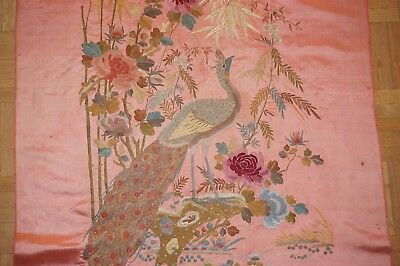 Superb Antique Qing Chinese Hand Embroidered Silk Paradise Bird Embroidery Panel