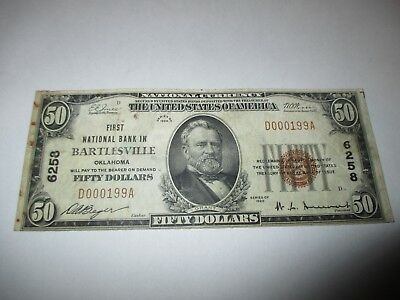 $50 1929 Bartlesville Oklahoma OK National Currency Bank Note Bill! #6258 FINE