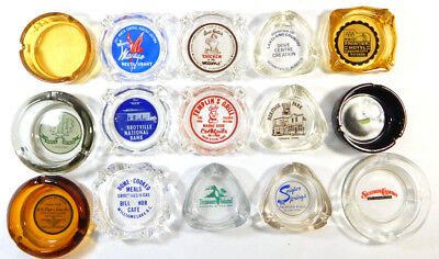 Lot of (15) Different Vintage Restaurant Hotel Casino Glass Ash Trays