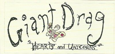 9.5cm by 4.5cm Promotional Sticker  GIANT DRAG  Hearts And Unicorns   NEW / MINT