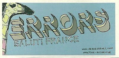 9.5cm by 4.5cm Promotional Sticker  ERRORS Salute France NEW / MINT  ROCK ACTION
