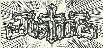 9.5cm by 4.5cm Promotional Sticker      JUSTICE      Logo      NEW / MINT