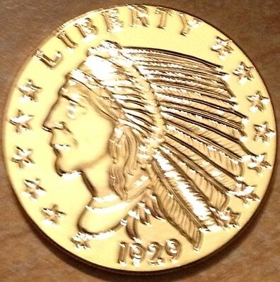 24K Gold Plated 1 Oz Copper Round Incused 1929 Indian Head $5 Gold Coin Type