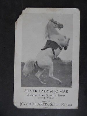 Antique Card Salina Kansas Horse Silver Lady of Jo-Mar Free Show w/ Ice Cream