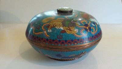 "19th C. Chinese Cloisonne on Copper 11.25"" Foo Dog Box, Jade Insert"
