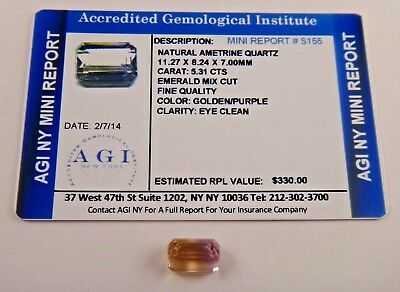 Natural Ametrine Golden Purple 5.31 Carats Cert App $330 AGI AMT22