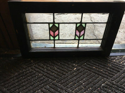 "Antique Stained Leaded Glass Transom Window 21 1/2"" by 13"" Circa 1925"