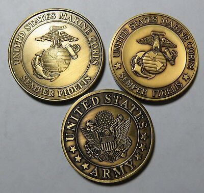 3 Bronze Medals  Marines And Army