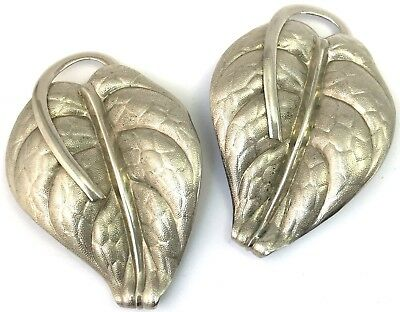 Vintage Dress Clip Pair Silver Tone Metal Leaf Ornate Costume Jewelry