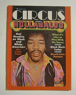 1969 First Issue Of Circus Magazine Formerly Hullabaloo Jimi Hendrix Ex Cond