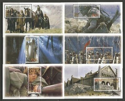 STAMPS-NEW ZEALAND. 2002. Lord of The Rings (2nd Series) Sheetlets. SG: 2550/55.