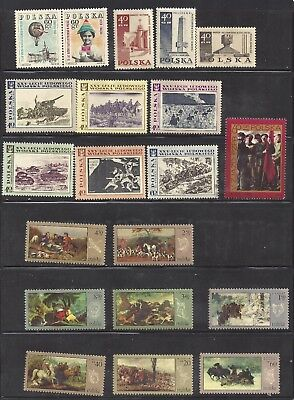 1968 POLAND -  Mix set of MNH stamps - Paintings (Hunt & Polish peoples army)