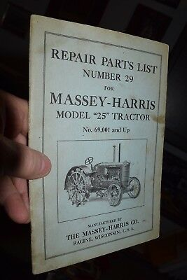 antique MASSEY HARRIS model 25 tractor repair parts manual