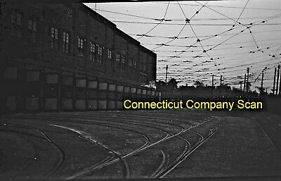 Connecticut Company Original B&w Trolley Negative Rear View Of A Car Barn 1946