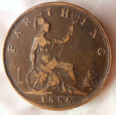 1866 GREAT BRITAIN FARTHING - RARE DATE - High Quality Valuable Coin - Lot #F16