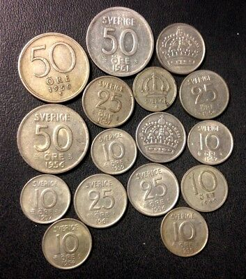 Vintage Sweden Silver Coin Lot - 15 High Quality Silver Coins - Lot #F16