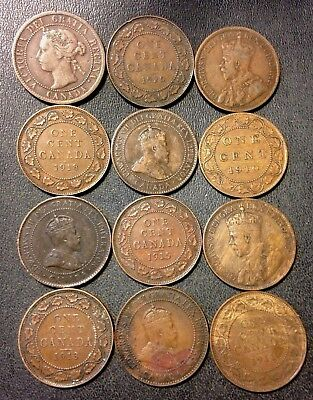 Old Canada Coin Lot - 1895-1920 - 12 Large Cents - Rare Coins - Lot #F16