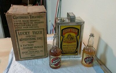 1935 Lucky Tiger Hair Tonic Tin & Shampoo & Tonic in Special Advertising Unit