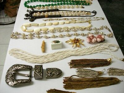 Antique Jewellery, Pearl, Mother of Pearl, Jade, Ornate,Rhinestone, Gold, Silver