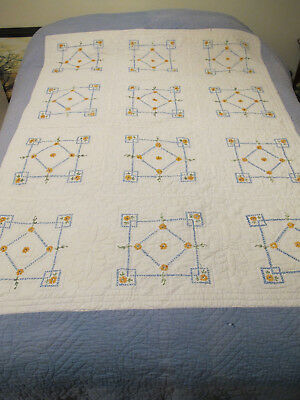 Vintage Hand Embroidered & Hand Quilted Cutter Quilt Faded & Some Damage