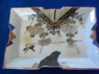 Japanese Kutani Ware Hand-painted Porcelain Trinket Dish or Tray Circa 1930s