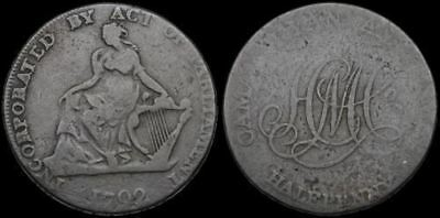 Conder Halfpenny Token, 1792, Incorporated by Act of Parliament, Dublin