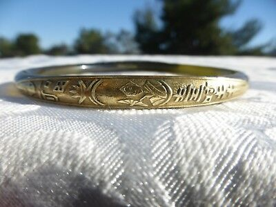 LOVELY Vintage CHINESE Applejuice Lucite Gold filled Asian girl 2 sided BANGLE