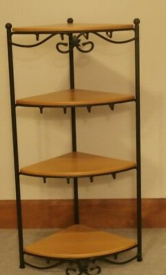 Longaberger Wrought Iron Corner Shelf & 4 Longaberger Light Brown Wood Shelves
