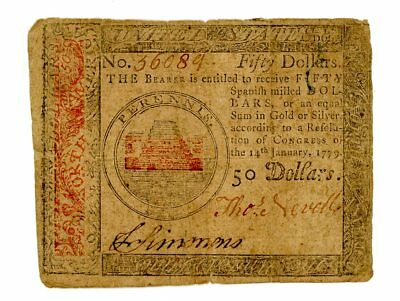 1779 50 Spanish Milled Dollars Continental Currency No. 36089