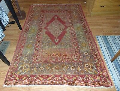 ATTRACTIVE ANTIQUE PRIMITIVE Persian Rug REDS & YELLOWS Nice Pattern AGE WEAR!
